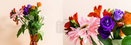 Photo pour Collage de composition florale avec bouquet en vase orange sur fond beige, culture panoramique - image libre de droit