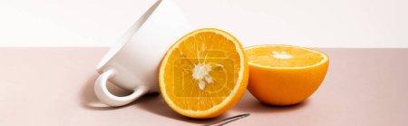 Photo pour Composition de fruits à l'orange coupée, tasse isolée sur beige, culture panoramique - image libre de droit