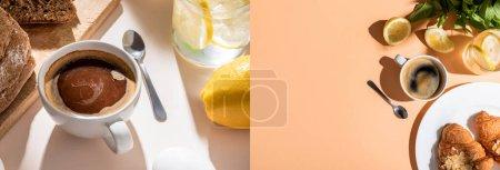 Photo pour Collage avec tasse à café, eau, citrons, pain et croissants pour le petit déjeuner sur table beige, en-tête du site - image libre de droit