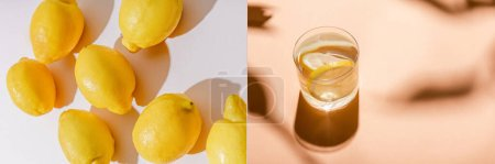 Photo for Collage with whole lemons on grey and glass of water on beige table, horizontal image - Royalty Free Image