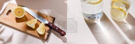 Photo pour Collage de tranches de citron et couteau sur une planche en bois et de l'eau dans des verres sur une table grise avec ombres - image libre de droit