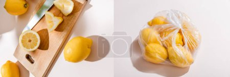 Photo for Collage with cutted lemons on wooden board and whole lemons in plastic bag on grey table, website header - Royalty Free Image