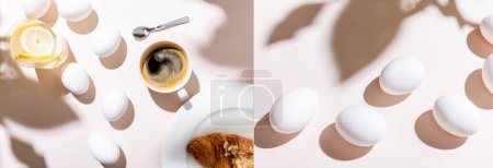 Photo for Collage with boiled eggs, water with lemon, coffee cup and croissant for breakfast on grey table with shadows, website header - Royalty Free Image
