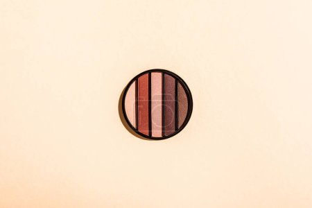 Photo for Top view of eye shadow palette isolated on pink - Royalty Free Image