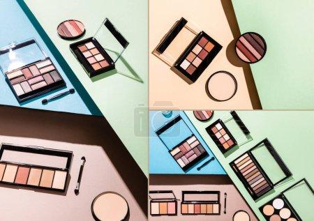 Photo pour Collage de palettes de fards à paupières et d'applicateurs de fards à paupières double face sur bleu, vert et rose - image libre de droit