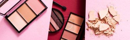 Photo pour Collage de fard à paupières pastel et palettes blush près de poudre visage fissurée sur rose et cramoisi - image libre de droit