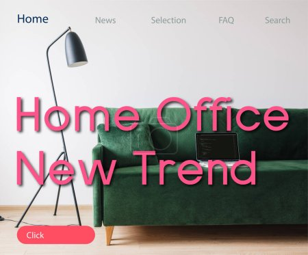 Photo for KYIV, UKRAINE - APRIL 14, 2020: green sofa and laptop with javascript on screen near floor lamp and home office new trend lettering - Royalty Free Image