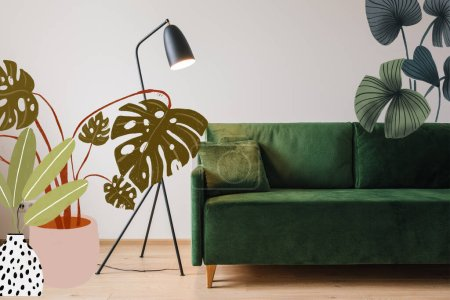 Photo for Green sofa with pillow near modern floor lamp and drawn plants illustration - Royalty Free Image