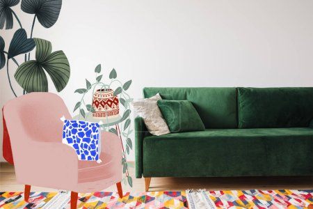 modern green sofa and pillows in living room with colorful rug near drawn armchair and plants illustration