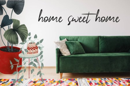 Photo for Modern green sofa and pillows in living room with colorful rug near drawn table with plants and home sweet home lettering - Royalty Free Image