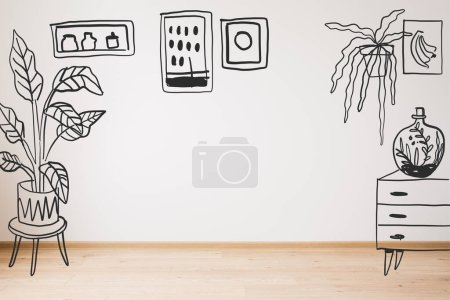 Photo for Drawn dresser, plants and paintings on wall and wooden floor - Royalty Free Image