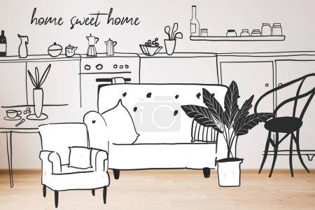 Photo pour Canapé dessiné, fauteuil et plante près de la cuisine et la maison lettrage doux - image libre de droit