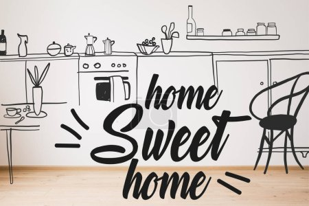 Photo for Home sweet home lettering near drawn sofa, armchair and plant near kitchen illustration - Royalty Free Image
