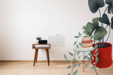 Photo for Wooden coffee table and clock with blank screen and drawn plants illustration - Royalty Free Image