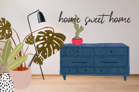 Photo for Modern floor lamp near home sweet home lettering, drawn dresser and plants illustration - Royalty Free Image