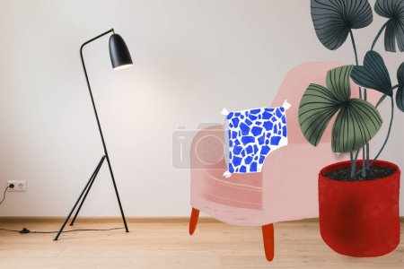 Photo for Modern floor lamp near drawn armchair, pillow and green plant illustration - Royalty Free Image