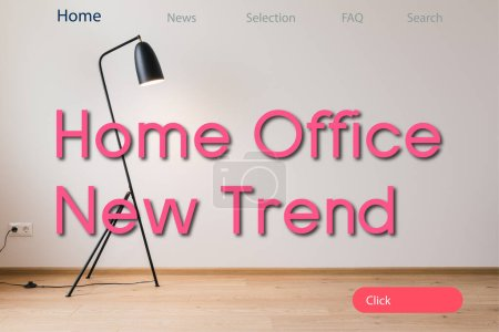 Photo for Modern floor lamp near home office new trend lettering - Royalty Free Image