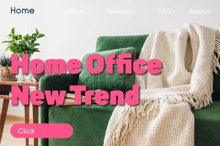 Photo for Book on green sofa, pillow and blanket near wooden coffee table with plants and home office new trend lettering - Royalty Free Image