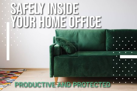 Photo for Green sofa with pillow near colorful rug and safely inside your home office lettering - Royalty Free Image
