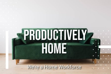 Photo for Green sofa with pillows near productively home lettering - Royalty Free Image