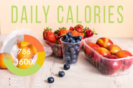 Photo for Blueberries, strawberries, nectarines and peaches in plastic containers on wooden surface near daily calories lettering on beige - Royalty Free Image
