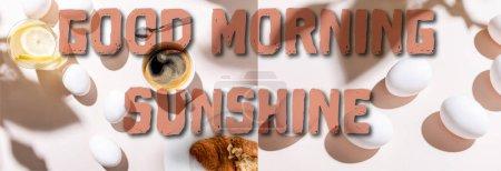 Photo pour Collage aux œufs durs, eau au citron, tasse à café et croissant pour le petit déjeuner sur table grise avec lettrage ensoleillé, en-tête du site - image libre de droit