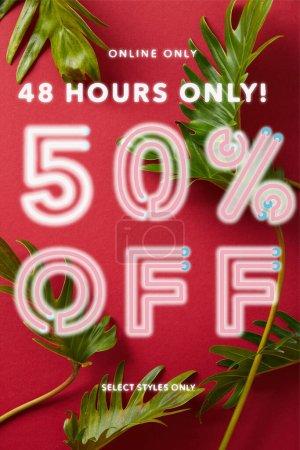 Photo pour Vue de dessus des feuilles vertes tropicales sur fond rouge avec illustration de vente - image libre de droit