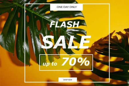 Photo for Top view of tropical green leaves on yellow background with flash sale illustration - Royalty Free Image