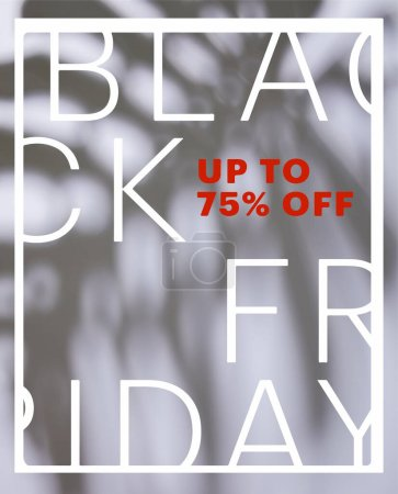 tropical leaf shadow on white background with black Friday sale illustration