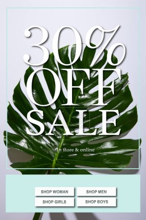 fresh tropical green leaf on white background with sale illustration