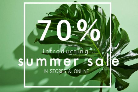 Photo for Fresh tropical leaf on green background with summer sale illustration - Royalty Free Image