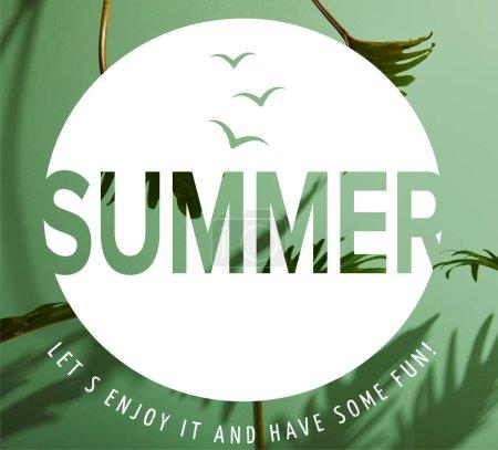 frische tropische grüne Blätter auf grünem Hintergrund mit sommerlicher Illustration