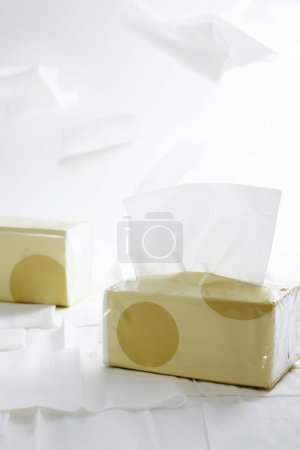 Closeup of white paper napkins isolated on white background