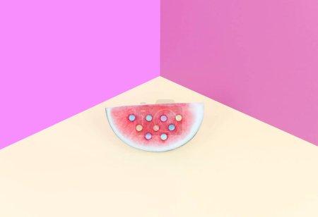 Photo pour Mode pastèque sur fond pastel. Couleur d'été concept minimal . - image libre de droit