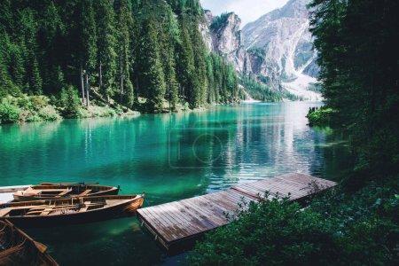 Photo for Beautiful view of Lago di Braies or Pragser wildsee, Trentino Alto Adidge, Dolomites mountains, Italy. - Royalty Free Image