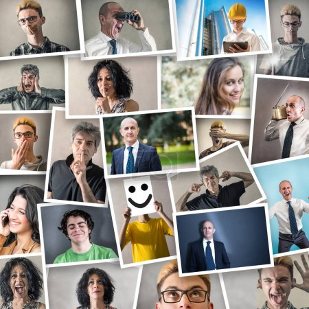 Photo for A collage of people in various expressions - Royalty Free Image
