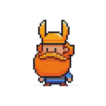 Pixel art viking character with red beard isolated...