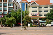 Siem Reap; Kingdom of Cambodia - august 23 2018 : hotel on the national road 6