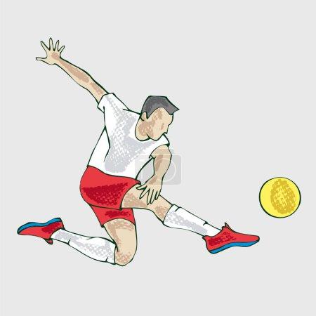 Athlète footballeur, dessin à la main. Illustration du vecteur joueur de football par dessin à la main. Icône vectorielle sport. Clip style plat vectoriel art .