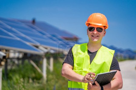 Photo for Solar power panel. Green energy. Electricity. Power energy pannels. Engineer on a solar plant. - Royalty Free Image