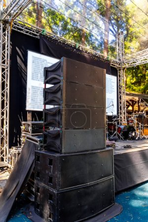 Photo for Speakers, sound system for concert. Set of powerful speakers near stage. - Royalty Free Image
