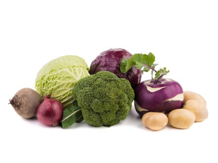 Whole heads of cabbage, red onion, beet, turnip, radish, broccoli and potatoes isolated on a white background. A concept of organic vegetables