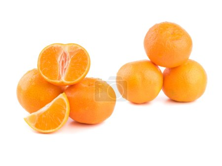 Photo for Isolated citrus collection. Whole tangerines or mandarin orange fruits and peeled segments isolated on white background.Mandarines, tangerine, clementine with leaves isolated on white background. Top view - Royalty Free Image
