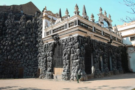 The artificial stalactite wall made of lime stucco in early Baroque Wallenstein Garden, built with the Wallenstein Palace, from 1623 to 1630 in Prague, Czech Republic