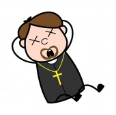 Groaning - Cartoon Priest Religious Vector Illustration - Cartoo