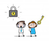 Boy Crying and Girl Holding a Locker Key - Retro Office Girl Emp