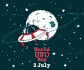 Poster for world ufo day with doodle planet and spaceship vector illustration