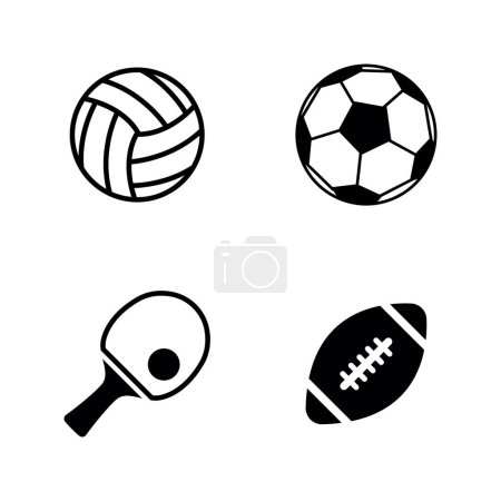 Sport Balls. Simple Related Vector Icons