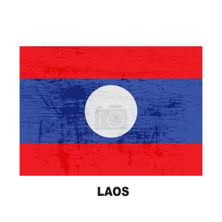 laos flag isolated on white background. Lao Peoples Democratic Republic national symbol. Vector flat design collection.