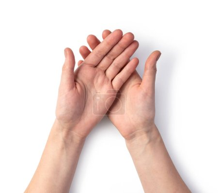 Photo pour Main de femme isolée sur blanc - image libre de droit